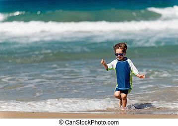 αγόρι , μικρός , παραλία , τρέξιμο