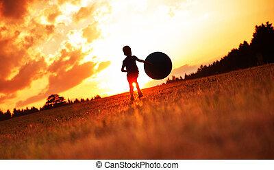 αγόρι , μικρός , ποδόσφαιρο , λιβάδι , παίξιμο