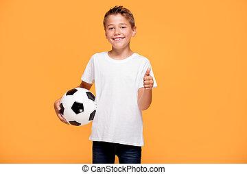 αγόρι , μικρός , ποδόσφαιρο , ball., ευτυχισμένος