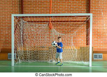 αγόρι , μπάλα , νέος , τερματοφύλακας , κράτημα , ποδόσφαιρο , παίξιμο