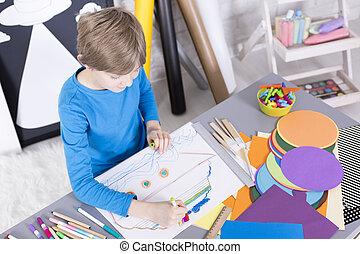 αγόρι , μπογιά γράφω , χαρτί , αστείο , έχει