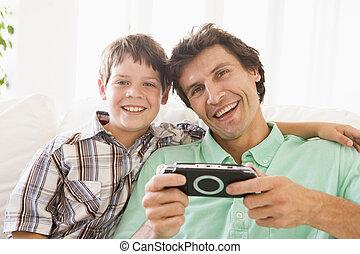 αγόρι , νέος , handheld , παιγνίδι , ευθυμία ανήρ
