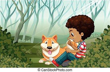 αγόρι , πάρκο , σκύλοs