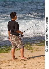 αγόρι , παραλία , ψάρεμα