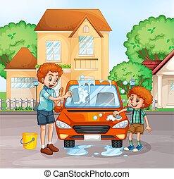 αγόρι , πλύση , αυτοκίνητο , πατέραs