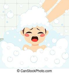 αγόρι , πλύση , μητέρα