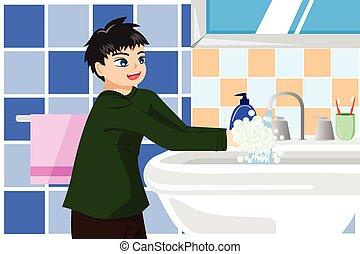 αγόρι , πλύση , σαπούνι , ανάμιξη