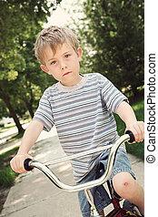 αγόρι , ποδήλατο , νέος , ιππασία