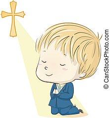 αγόρι , προσεύχομαι , εικόνα , επαφή , κουστούμι , πρώτα , παιδί