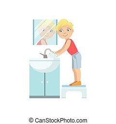 αγόρι , τουαλέτα , πλύση , τρυπώ , ανάμιξη