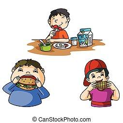 αγόρι , τρώγω , λουκάνικο