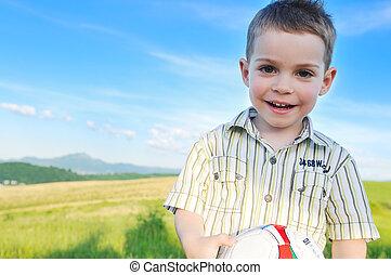 αγόρι , υπαίθριος , ανώριμος άπειρος , πορτραίτο , ευτυχισμένος