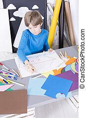 αγόρι , χαρτί , ζωγραφική , κάτι