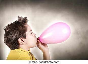 αγόρι , balloon, παίξιμο , εμφυσώ