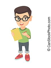 αγόρι , clipboard., χαρτί , επισύναψα , γράψιμο