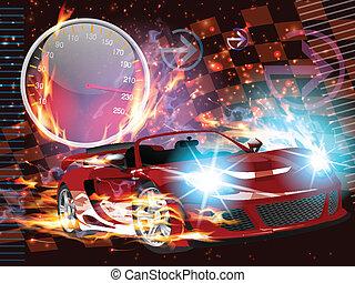 αγώνας αυτοκινήτων , τρέχει με ταχύτητα