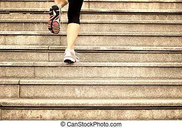 αγώνισμα γυναίκα , γάμπα , τρέξιμο , επάνω , σκάλεs