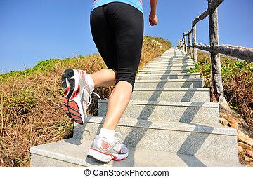 αγώνισμα γυναίκα , τρέξιμο , επάνω , βουνό