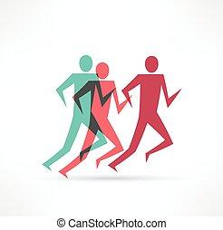αγώνισμα , icon., άντραs , γυμναστήριο , σύμβολο. , τρέξιμο
