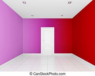 αδειάζω , γραφικός , δωμάτιο , τοίχοs