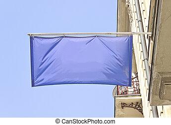 αδειάζω , οριζόντιος , σημαία , σημαία , πάνω , γαλάζιος ουρανός