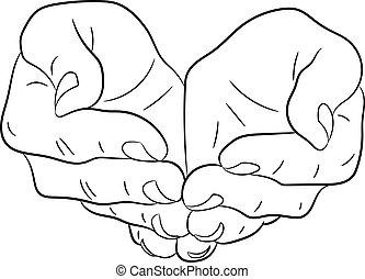 αδειάζω , gesture., δυο , μικροβιοφορέας , αιτώ , μονόχρωμος , ανοίγω , hands., illustrations.