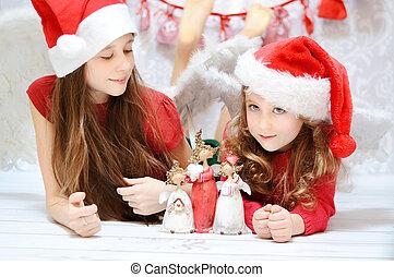 αδελφή , χαριτωμένος , απολαμβάνω , δυο , xριστούγεννα