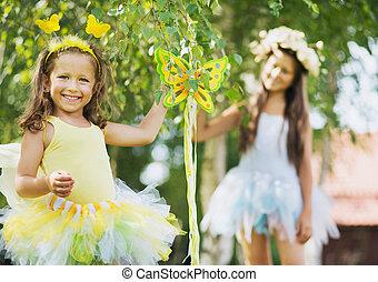 αδελφή , χαριτωμένος , χαμογελαστά , κήπος , δυο
