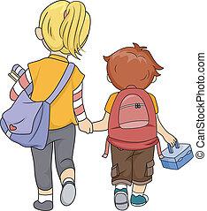 αδελφός ή αδελφή , περίπατος , σπίτι