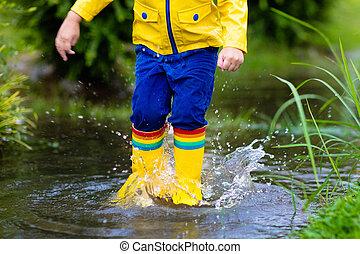 αδιάβροχος , βορβορώδης , rain., φορώ , φθινόπωρο , μικρόκοσμος