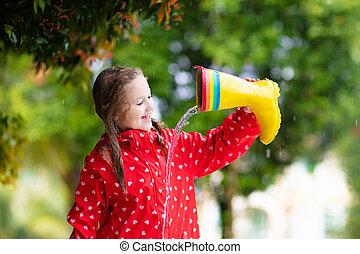 αδιάβροχος , boots., βροχή , φορώ , children., παιδί