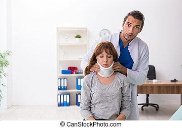 αδικώ , γιατρός , νέα γυναίκα , traumatologist, επίσκεψη