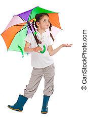 αδύναμος δεσποινάριο , βροχή , έλεγχος , ομπρέλα