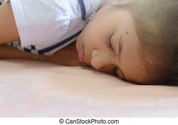 αδύναμος δεσποινάριο , κρεβάτι , κοιμάται