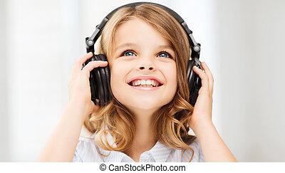 αδύναμος δεσποινάριο , με , ακουστικά , στο σπίτι