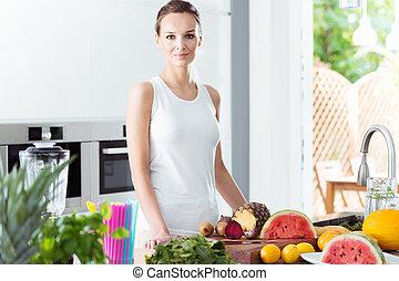αδύνατες , γυναίκα , μέσα , μοντέρνος , κουζίνα