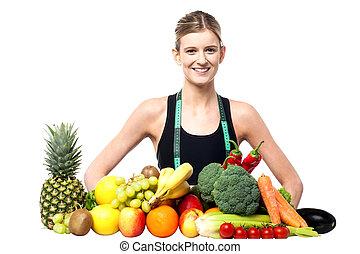αδύνατες , προσαρμόζω , κορίτσι , με , άβγαλτος ανταμοιβή και από λαχανικά