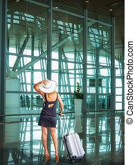 αεροδρόμιο , αποσκευέs , όμορφος , επιβάτης
