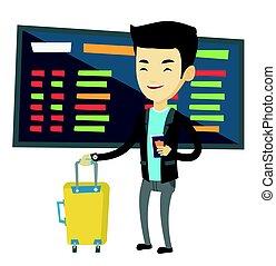 αεροδρόμιο. , εισητήριο , άντραs , βαλίτσα