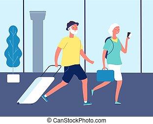 αεροδρόμιο , ηλικιωμένος , ευτυχισμένος , travellers., lifestyle ανδρόγυνο , περιηγητής , μικροβιοφορέας , διεθνής , δραστήριος , terminal., ανήρ διευκρίνιση , γριά , ή , suitcases., γυναίκα , θέση