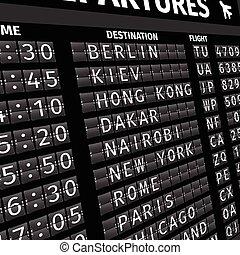 αεροδρόμιο , πίνακας , άποψη , αναχώρηση