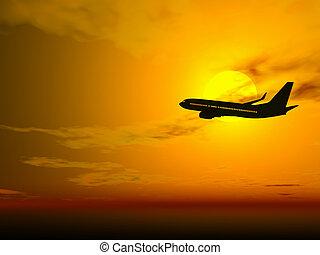 αεροπλάνο , σε , ηλιοβασίλεμα