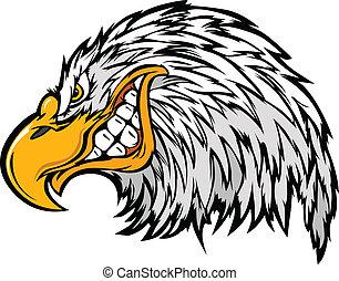 αετός , κεφάλι , γουρλίτικο ζώο , vec, γελοιογραφία