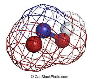 αζωτούχος , οξύ , (hno2), μόριο , χημικός , structure.
