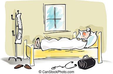 αηδιασμένος ανήρ , κρεβάτι