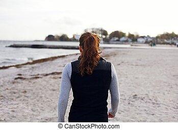 αθλητής , παραλία , περίπατος , γυναίκα