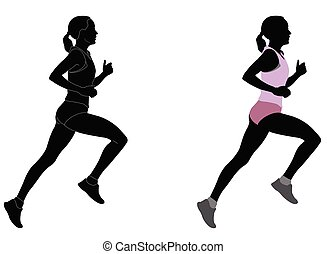 αθλητικό ντύσιμο , γυναίκα , περίγραμμα , δρομέας , χρώμα , γενικές γραμμές , λεπτομερής