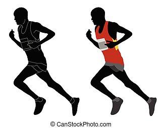 αθλητικό ντύσιμο , περίγραμμα , δρομέας , χρώμα , γενικές γραμμές , λεπτομερής