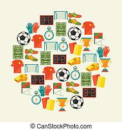 αθλητισμός , φόντο , με , ποδόσφαιρο , (football), διαμέρισμα , icons.