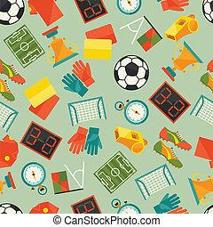 αθλητισμός , seamless, πρότυπο , με , ποδόσφαιρο , (football), icons.